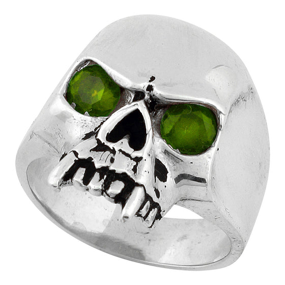 Sterling Silver Vampire of Hell Skull Olive Green CZ Eyes