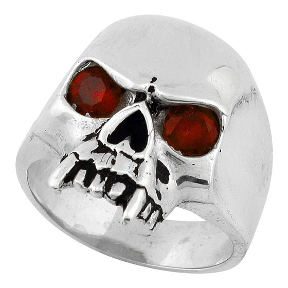 Sterling Silver Vampire of Hell Skull Ruby Red CZ Eyes