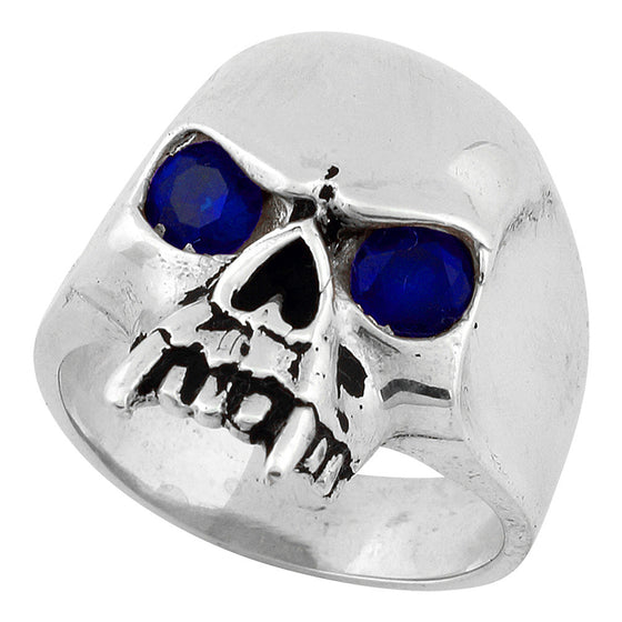 Sterling Silver Vampire of Hell Skull Sapphire Blue CZ Eyes