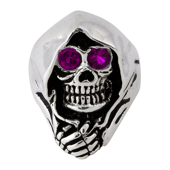 Sterling Silver Grim Reaper Death Skull Purple CZ Eyes
