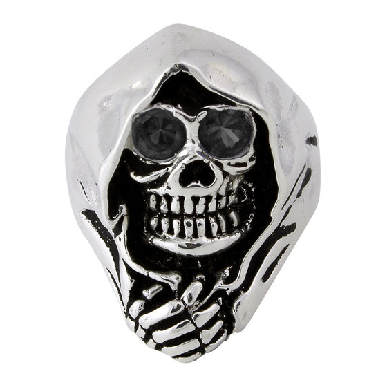 Sterling Silver Grim Reaper Death Skull Black CZ Eyes