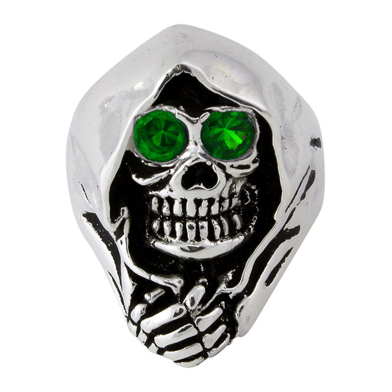 Sterling Silver Grim Reaper Death Skull Green CZ Eyes