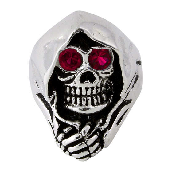 Sterling Silver Grim Reaper Death Skull Garnet Red CZ Eyes
