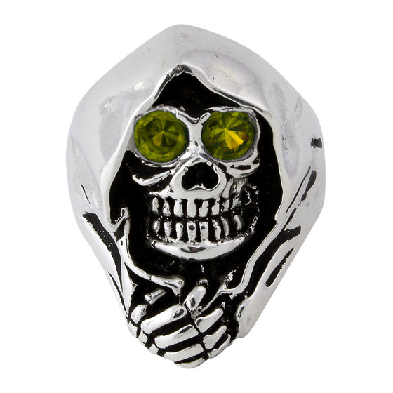 Sterling Silver Grim Reaper Death Skull Olive Green CZ Eyes