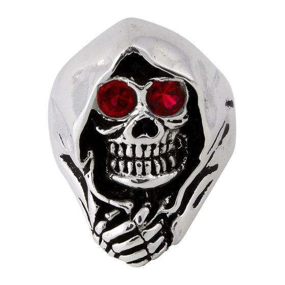Sterling Silver Grim Reaper Death Skull Ruby Red CZ Eyes