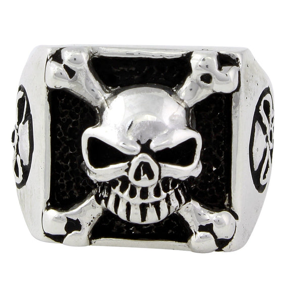 Sterling Silver Armed & Dangerous Skull Ring
