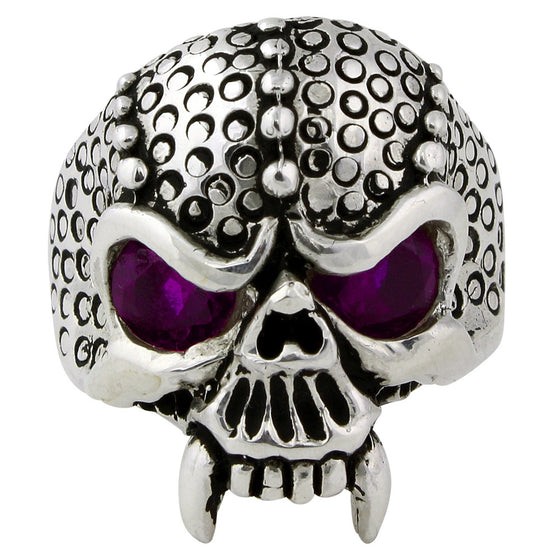 Sterling Silver Serpentine Demon Skull Purple CZ Eyes