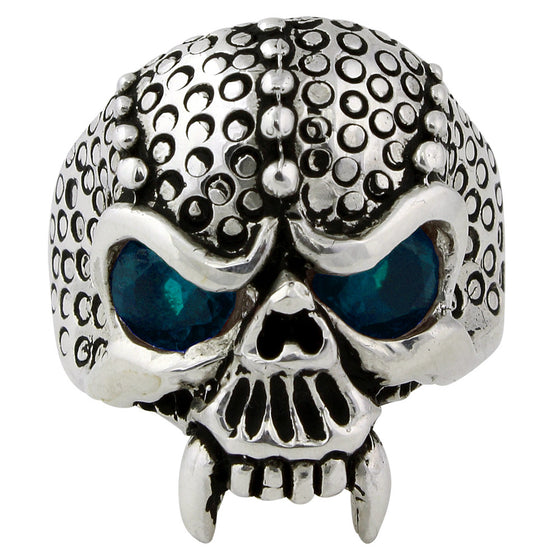 Sterling Silver Serpentine Demon Skull Aqua Blue CZ Eyes