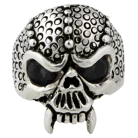 Sterling Silver Serpentine Demon Skull Black CZ Eyes