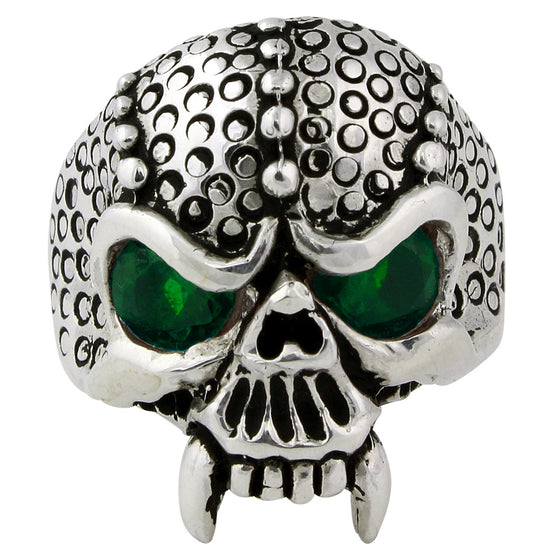 Sterling Silver Serpentine Demon Skull Green CZ Eyes