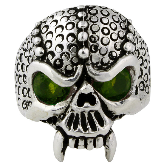 Sterling Silver Serpentine Demon Skull Olive Green CZ Eyes