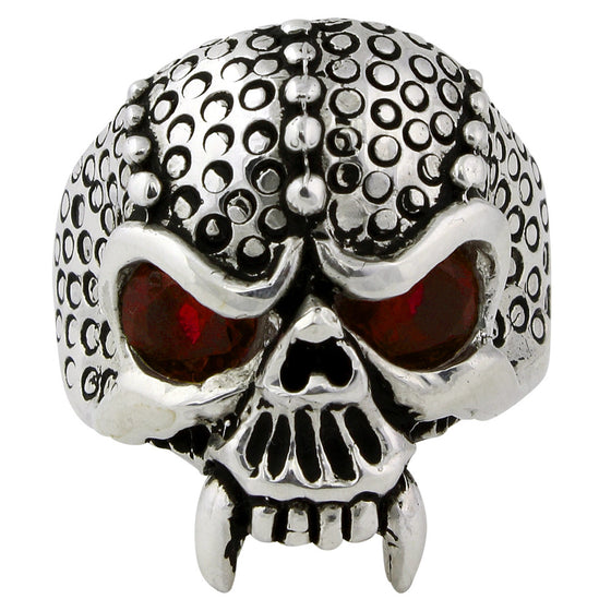 Sterling Silver Serpentine Demon Skull Ruby Red CZ Eyes