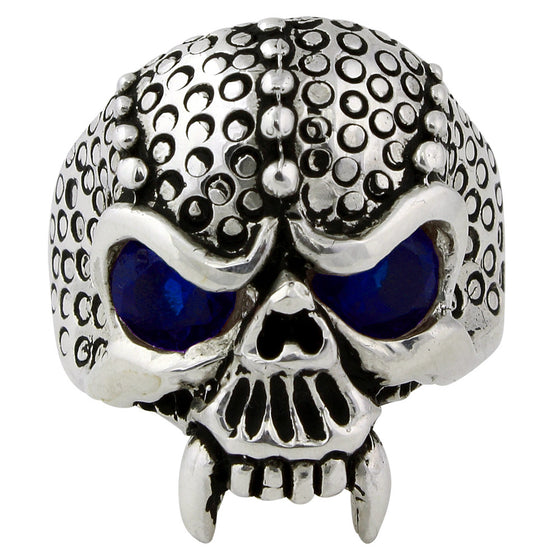 Sterling Silver Serpentine Demon Skull Sapphire Blue CZ Eyes
