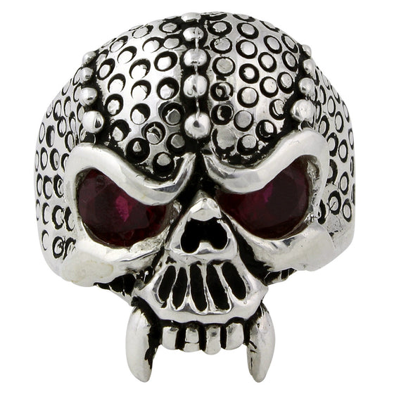 Sterling Silver Serpentine Demon Skull Ring Garnet Red CZ Eyes