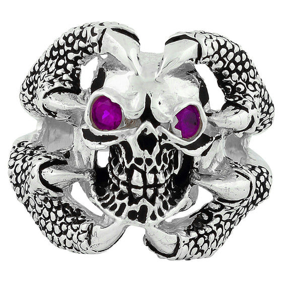 Sterling Silver Claw of the Beast Skull Purple CZ Eyes