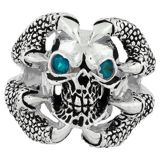Sterling Silver Claw of the Beast Skull Aqua Blue CZ Eyes