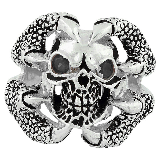 Sterling Silver Claw of the Beast Skull Black CZ Eyes