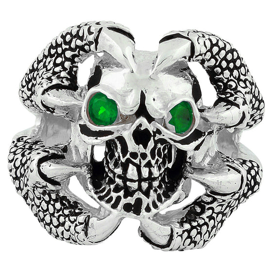 Sterling Silver Claw of the Beast Skull Green CZ Eyes