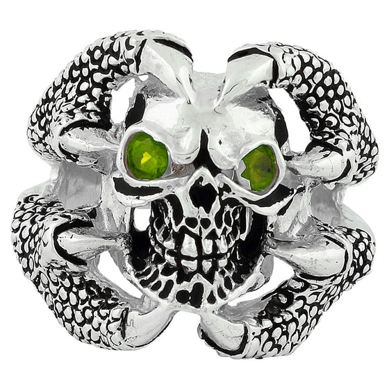 Sterling Silver Claw of the Beast Skull Olive Green CZ Eyes
