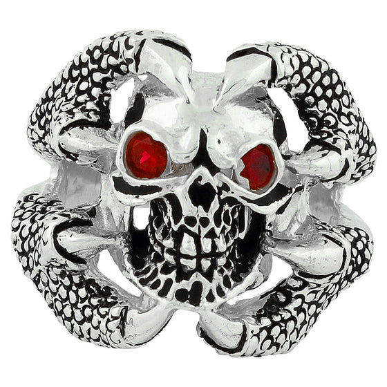 Sterling Silver Claw of the Beast Skull Ruby Red CZ Eyes