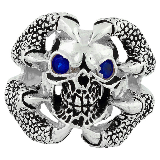 Sterling Silver Claw of the Beast Skull Sapphire Blue CZ Eyes