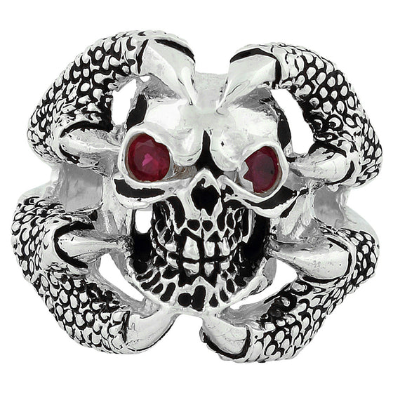Sterling Silver Claw of the Beast Skull Ring Garnet Red CZ Eyes