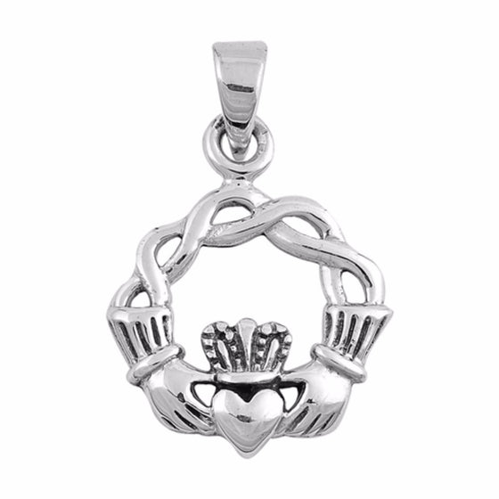 "Sterling Silver Claddagh Pendant 26MM (FREE 18"" Chain)"