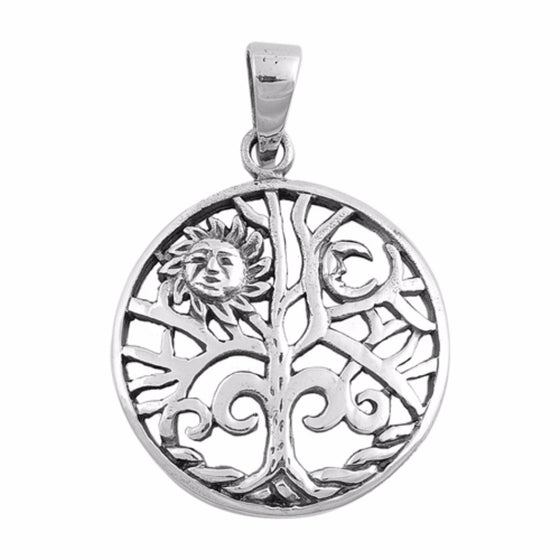 "Sterling Silver Sun and Tree of Life Pendant 30MM (FREE 18"" Chain)"