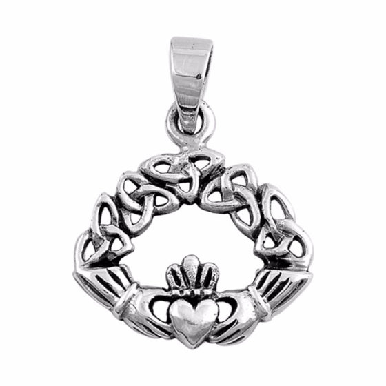 "Sterling Silver Celtic Claddagh Pendant 24MM (FREE 18"" Chain)"