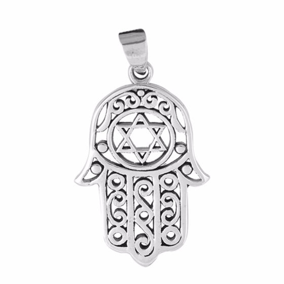"Sterling Silver Hand of God Hamsa Pendant 29MM (FREE 18"" Chain)"