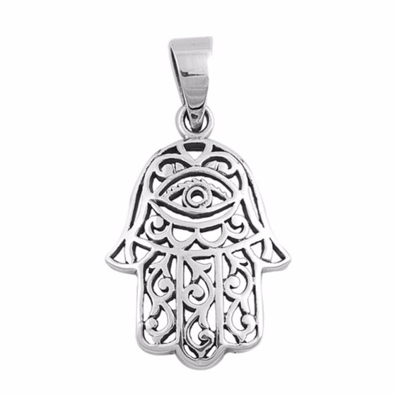 "Sterling Silver Hand of God Hamsa Pendant 26MM (FREE 18"" Chain)"