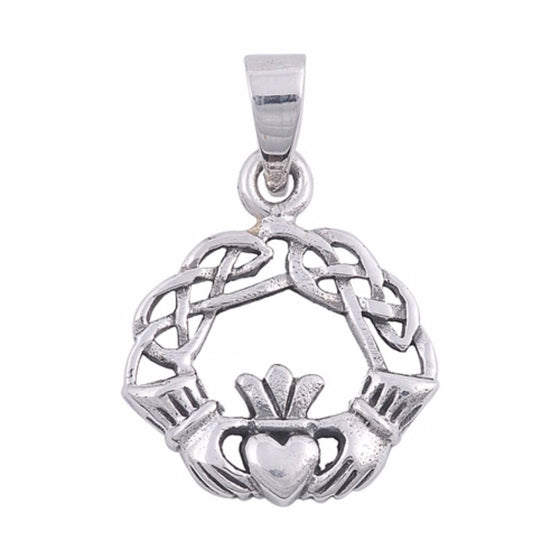 "Sterling Silver Celtic Claddagh Pendant 23MM (FREE 18"" Chain)"