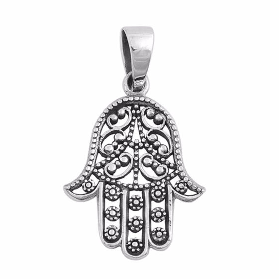 "Sterling Silver Hand of God Hamsa Pendant 27MM (FREE 18"" Chain)"