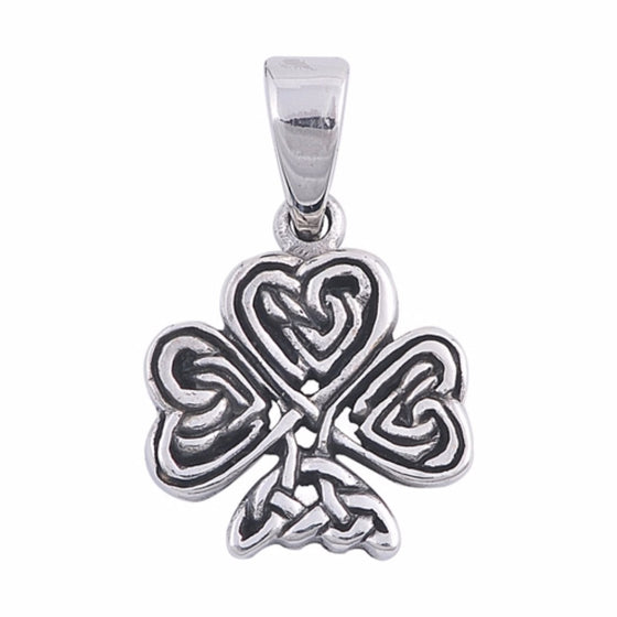 "Sterling Silver Celtic Clover Pendant 18MM (FREE 18"" Chain)"