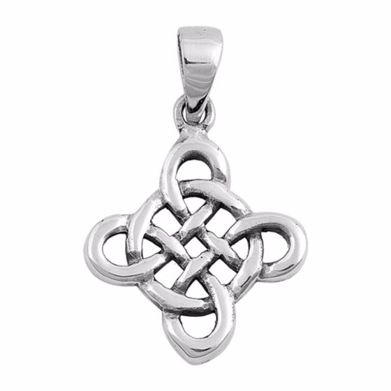 "Sterling Silver Four Elements Wicca Pendant 25MM (FREE 18"" Chain)"