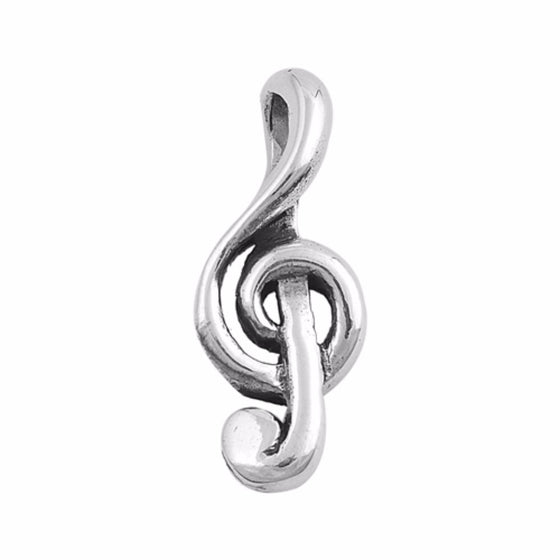 "Sterling Silver Music Note Pendant 24MM (FREE 18"" Chain)"