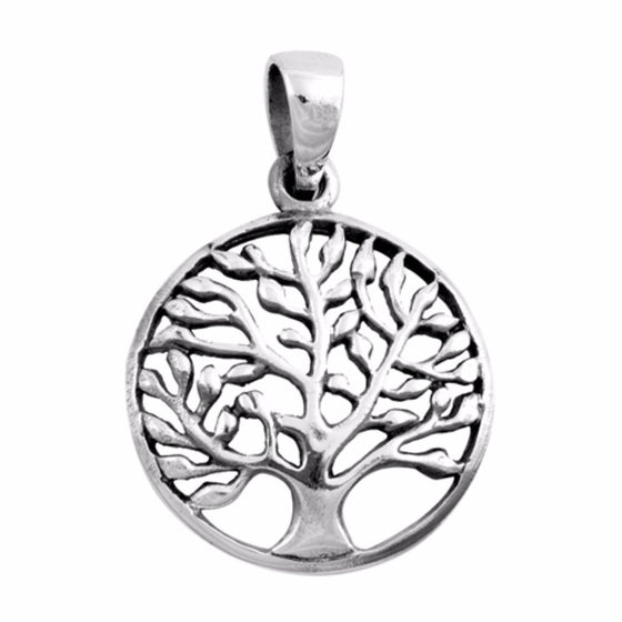 "Sterling Silver Wicca Tree of Life Pendant 21MM (FREE 18"" Chain)"