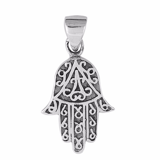 "Sterling Silver Hand of God Hamsa Pendant 19MM (FREE 18"" Chain)"