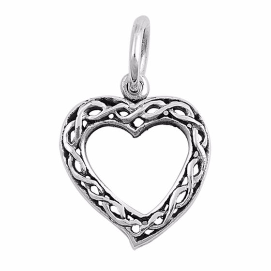 "Sterling Silver Weave Heart Pendant 14MM (FREE 18"" Chain)"