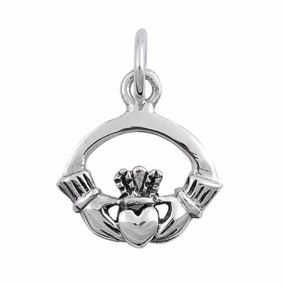 "Sterling Silver Claddagh Pendant 12MM (FREE 18"" Chain)"