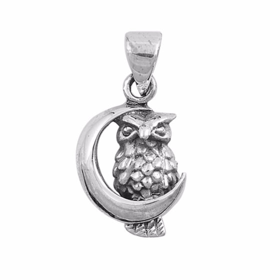 "Sterling Silver Moon Owl Pendant 13MM (FREE 18"" Chain)"