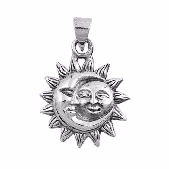 "Sterling Silver Moon and Sun Pendant 10MM (FREE 18"" Chain)"
