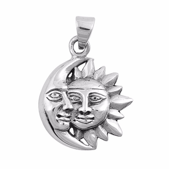 "Sterling Silver Moon and Sun Pendant 15MM (FREE 18"" Chain)"