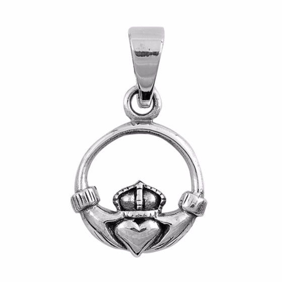 "Sterling Silver Claddagh Pendant 14MM (FREE 18"" Chain)"