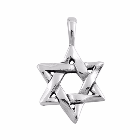 "Sterling Silver Star of David Pendant 25MM (FREE 18"" Chain)"