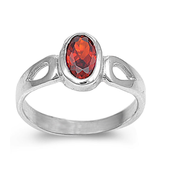 Sterling Silver Solitaire Oval CZ Garnet 8MM CZ Petite Ring
