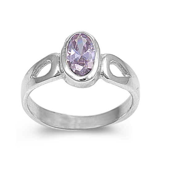 Sterling Silver Solitaire Oval CZ Light Amethyst 8MM CZ Petite Rings