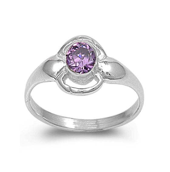 Sterling Silver Solitaire Round CZ Amethyst 8MM CZ Petite Rings