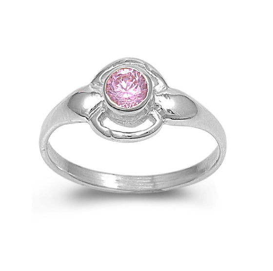 Sterling Silver Solitaire Round CZ Tourmaline 8MM CZ Petite Ring