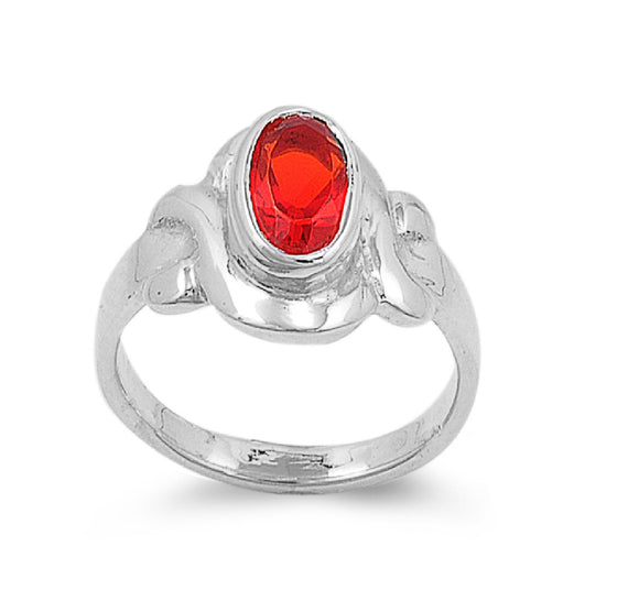 Sterling Silver Filigree Oval CZ Ruby 9MM CZ Petite Ring